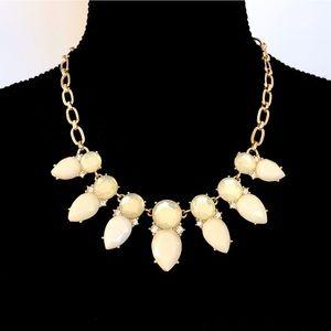ANN KLEIN winter white opaque jewel gold necklace
